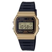 【CASIO】 經典方形金屬色系運動電子腕錶-金框(F-91WM-9A)