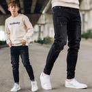 牛仔褲 全黑微刷色布面抓痕造型無破牛仔褲【NB0952J】