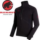 【MAMMUT 男Aconcagua彈性刷毛半門襟 保暖排汗衣《黑》】1014-01261/保暖上衣