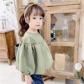 韓系女童襯衫娃娃衫長袖上衣 (硬挺材質) 女童 蓬蓬袖 襯衫上衣 薄長袖 橘魔法 現貨 兒童 童裝