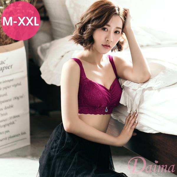 大尺碼 訂製美胸內衣(M-XXL)無鋼圈蠶絲蕾絲內衣(紫紅色) 【Daima黛瑪】8293