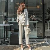 西裝套裝含外套+長褲(兩件套)-休閒雙排扣時尚職業女西服3色73xs9[巴黎精品]