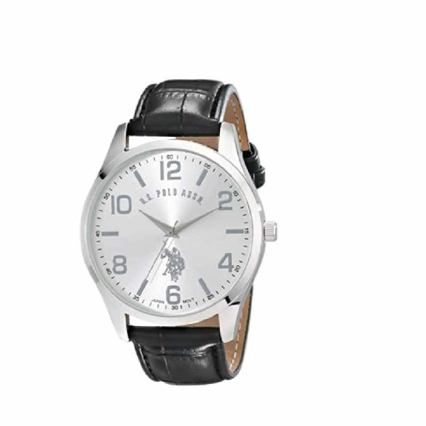 U.S. Polo Assn 男錶 Classic Men s USC50224 Silver-Tone Watch with Black Faux Leather Band [2美國直購]