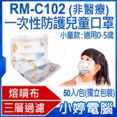 【3期零利率】現貨 RM-C102一次性防護兒童口罩 小童款 50入/包(單片獨立包裝)3層過濾 熔噴布