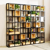美式鐵藝實木屏風隔斷工業風落地置物架儲物櫃LOFT復古書架展示架 夏日專屬價
