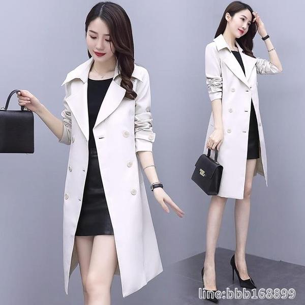 風衣外套 風衣女中長款年新款秋季女裝英倫風雙排扣流行外套女韓版寬鬆 城市科技