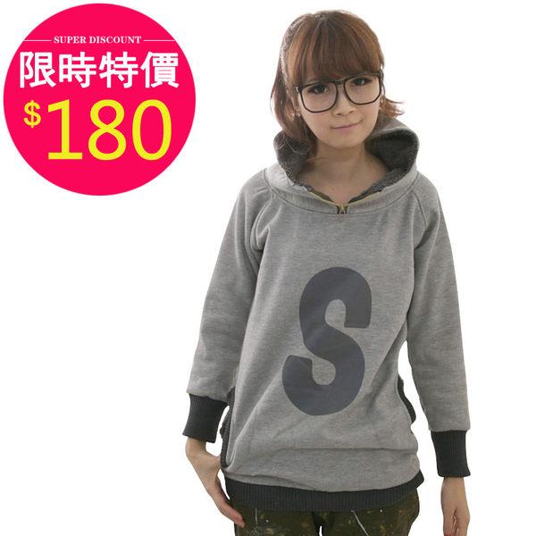 衛衣【11810】FEELNET中大尺碼女裝春裝厚抓絨長款衛衣 42-44碼