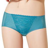 思薇爾-花緹系列M-XL蕾絲低腰平口內褲(磚瓦藍)
