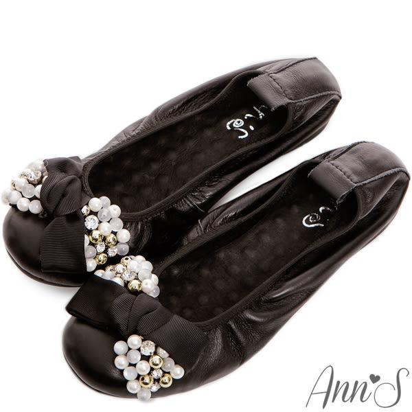 Ann'S優雅奢華-珍珠水鑽蝴蝶結小羊皮摺疊鞋 黑