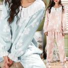 秋冬睡衣  秋楓兩件式睡衣+睡褲(兩色:粉、藍)-保暖、居家服_蜜桃洋房