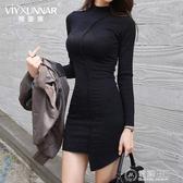 新款夜店女裝高領緊身包臀長袖氣質打底黑色性感洋裝女秋冬 電購3C