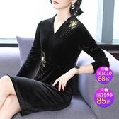連身裙黑色金絲絨a字裙女新款時尚v領氣質刺繡