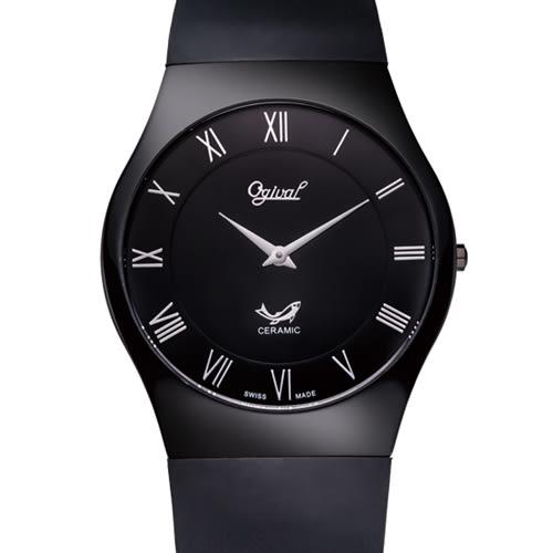 Ogival 瑞士愛其華 無暇系列超薄陶瓷時尚腕錶-黑/39mm