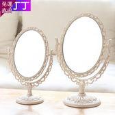 化妝鏡 雙面化妝鏡子台式梳妝便攜公主鏡宿舍歐式女學生書桌化妝隨身創意