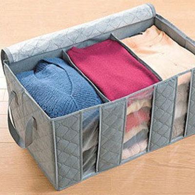 Qmishop 換季必備大容量60L竹炭衣物整理袋 防塵整理收納箱 AL【J634】