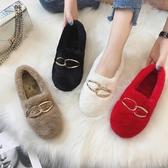 棉鞋女春2020新款加絨毛毛鞋外穿平底社會女鞋子網紅百搭豆豆鞋潮 藍嵐