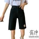 EASON SHOP(GW6646)實拍復古丹寧小雛菊刺繡毛邊抽鬚收腰牛仔褲休閒褲女高腰短褲五分褲貼腿褲小腳褲