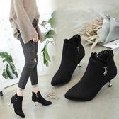 女靴秋冬季新款韓版高跟加絨尖頭時尚短靴細跟馬丁靴女鞋子