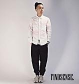 韓國 大線條粉色 襯衫 條紋 粗線條