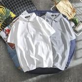 男士短袖t恤韓版潮流翻領POLO衫夏季港風純白情侶有領保羅丅恤男「草莓妞妞」