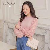 東京著衣【YOCO】輕甜百搭透膚蕾絲拼接針織上衣-S.M.L(180180)