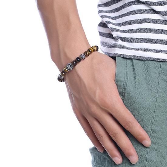 《 QBOX 》FASHION 飾品【QBR-477】精緻個性動物鈦鋼裝飾虎眼石手鍊/手環