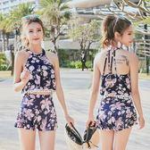 韓版泳衣分體兩件套性感露背掛脖式小清新甜美印花沙灘游泳裝  米蘭shoe