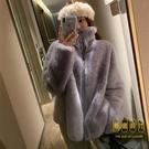 環保羊羔毛皮草外套女年輕款時尚慵懶仿獺兔...