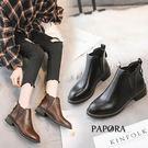 PAPORA渲染偽皮面短靴KYK20黑/棕(偏小)