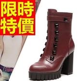 真皮短靴-迷人可愛典雅低跟女靴子2色62d81【巴黎精品】