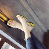 拖鞋女夏季新款正韓百搭外穿時尚粗跟一字拖透明中跟涼拖鞋潮