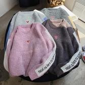 秋冬季毛衣男士韓版針織衫刺繡圓領線衣學生情侶寬鬆毛衣打底衫男  蘑菇街小屋