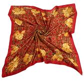 Christian Dior 黃金牡丹古典花紋緞面領帕巾(紅) 179010-1