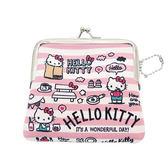 【日本進口正版】凱蒂貓 Hello Kitty 粉紅款 防震棉 中型 珠扣包 零錢包收納包 三麗鷗 - 419332