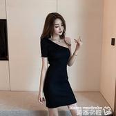 針織洋裝 2021年春夏新款氣質性感斜肩修身顯瘦收腰包臀短裙針織連身裙女潮 曼慕