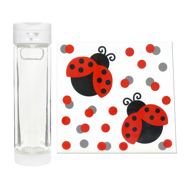 Glasstic │ 安全防護玻璃水瓶 經典小LO款(白_瓢蟲圖卡) 470ml