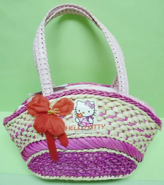 【震撼精品百貨】Hello Kitty 凱蒂貓~籐編籃手提袋『桃粉扶桑花寬版』