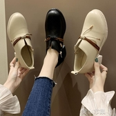 小皮鞋日繫小皮鞋女英倫復古配裙子 春季新款小清新百搭粗跟高跟單鞋  全館免運