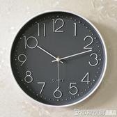 鐘錶掛鐘客廳現代簡約大氣創意時尚圓形臥室靜音電池牆貼石英鐘igo 印象家品旗艦店