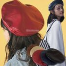 純色仿皮貝蕾帽/畫家帽/皮帽/八角帽 5...