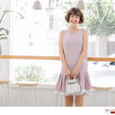 《DA5689-》下襬百褶配色拼接背心洋裝 OB嚴選
