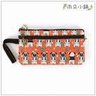 筆袋 手拿包 包包 防水包 雨朵小舖D02-526 長方上下拉鍊筆袋-橘小狗巴戈05039 funbaobao