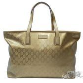 【GUCCI 古馳】211120 Imprime GG壓紋肩背購物包(金色)