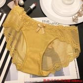 女士性感蕾絲內褲 透氣舒適條紋中腰OL女士底褲 純棉內檔