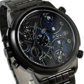 【萬年鐘錶】POLICE  大錶徑三眼三地時間顯示 黑帶 黑殼 黑藍錶面 53mm  13595JSB-03M