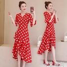 洋裝2021年春夏季新款女裝收腰顯瘦氣質輕熟風紅色波點雪紡裙子 小艾新品