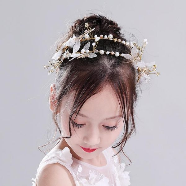 兒童皇冠頭飾白色公主花仙子花朵?飾頭箍花環女童走秀演出飾品 Mt8064『小美日記』