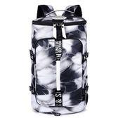 大容量雙肩旅行背包女健身運動包三用旅游包男時尚印花韓版行李包 WD  薔薇時尚