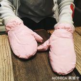 全指手套女冬韓版時尚可愛純色加厚騎車學生加絨連指手套保暖冬季 莫妮卡小屋