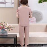 媽媽夏裝繡花四十歲女人衣服套裝